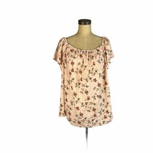 Misia pink micro floral lightweight spring top